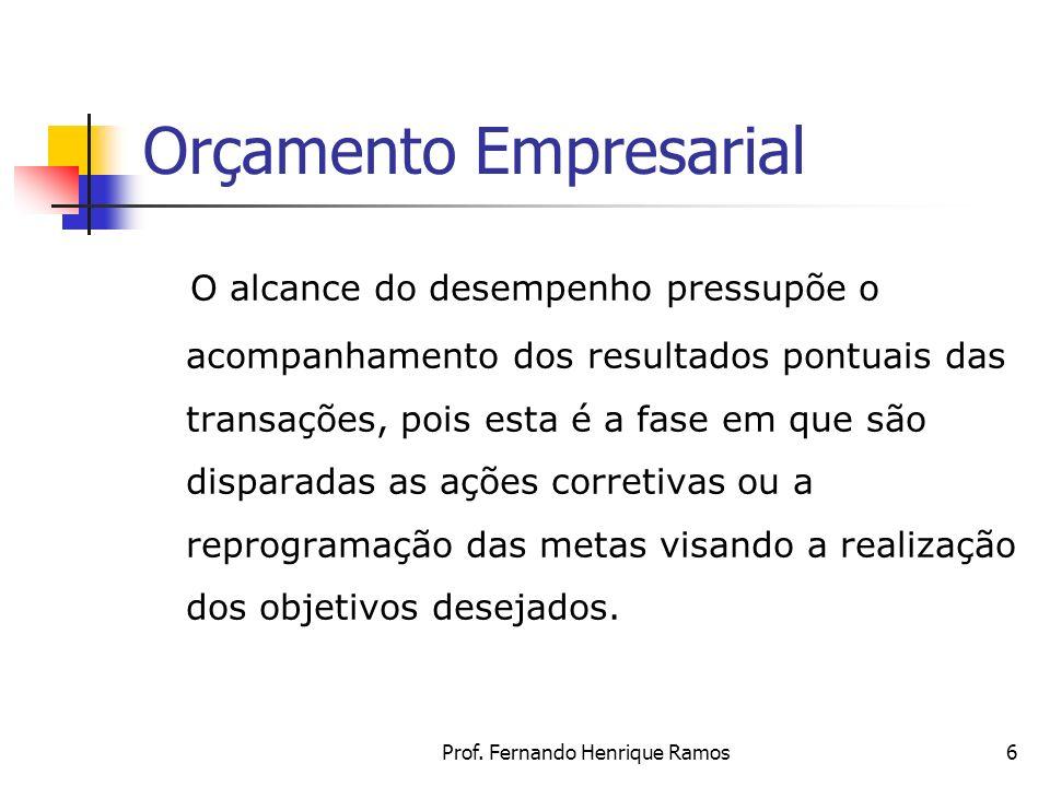 Prof. Fernando Henrique Ramos6 Orçamento Empresarial O alcance do desempenho pressupõe o acompanhamento dos resultados pontuais das transações, pois e