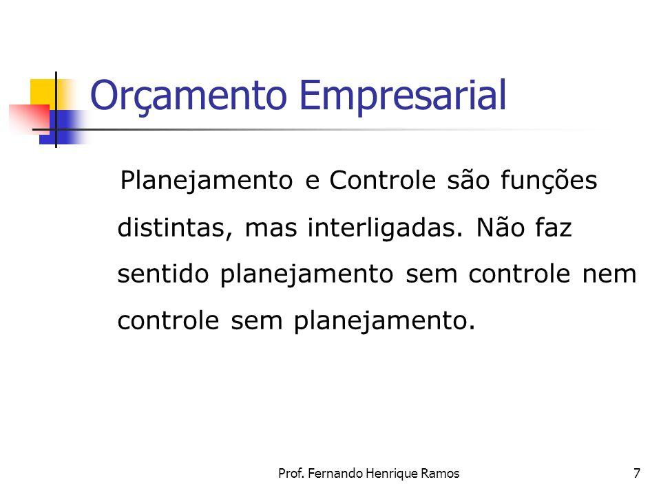 Prof. Fernando Henrique Ramos7 Orçamento Empresarial Planejamento e Controle são funções distintas, mas interligadas. Não faz sentido planejamento sem