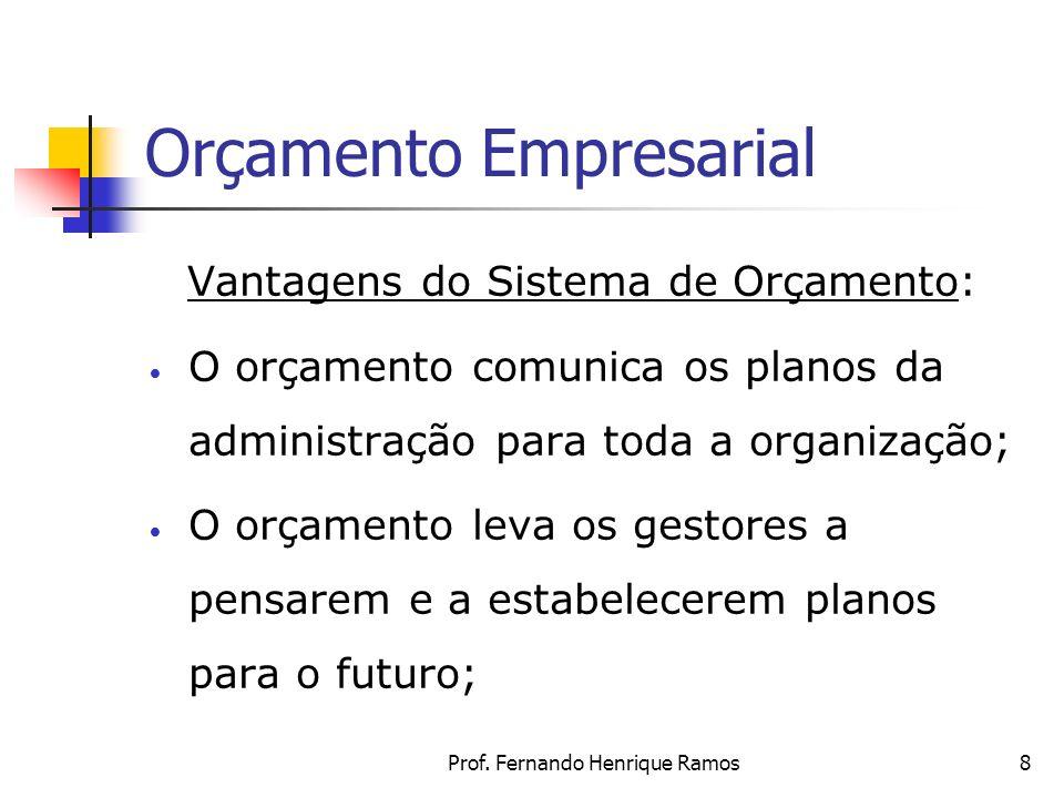 Prof. Fernando Henrique Ramos8 Orçamento Empresarial Vantagens do Sistema de Orçamento: O orçamento comunica os planos da administração para toda a or