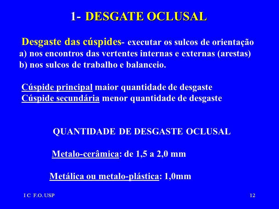 I C F.O. USP12 1-DESGATE OCLUSAL 1- DESGATE OCLUSAL Desgaste das cúspides - executar os sulcos de orientação a) nos encontros das vertentes internas e