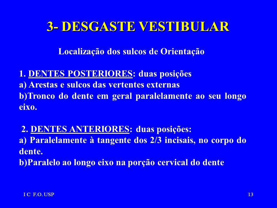 I C F.O. USP13 3-DESGASTE VESTIBULAR 3- DESGASTE VESTIBULAR Localização dos sulcos de Orientação 1. DENTES POSTERIORES: duas posições a) Arestas e sul