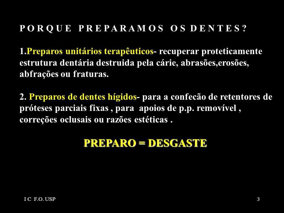 3 P O R Q U E P R E P A R A M O S O S D E N T E S ? 1.Preparos unitários terapêuticos- recuperar proteticamente estrutura dentária destruida pela cári