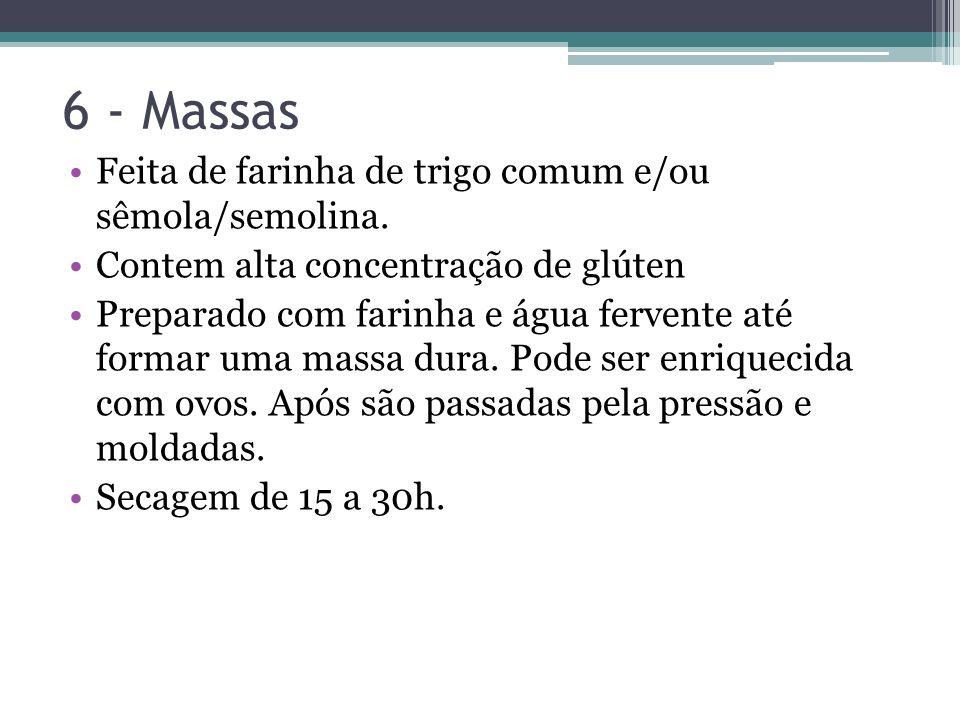 6 - Massas Feita de farinha de trigo comum e/ou sêmola/semolina.