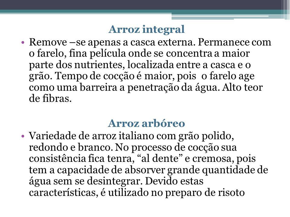 Arroz integral Remove –se apenas a casca externa.