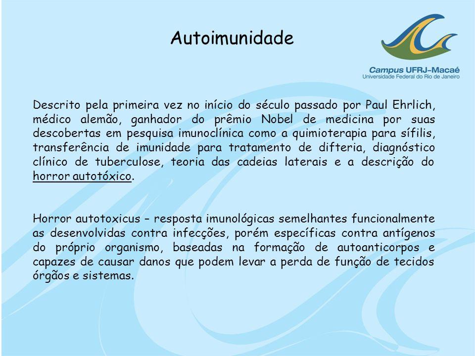 Autoimunidade Descrito pela primeira vez no início do século passado por Paul Ehrlich, médico alemão, ganhador do prêmio Nobel de medicina por suas de