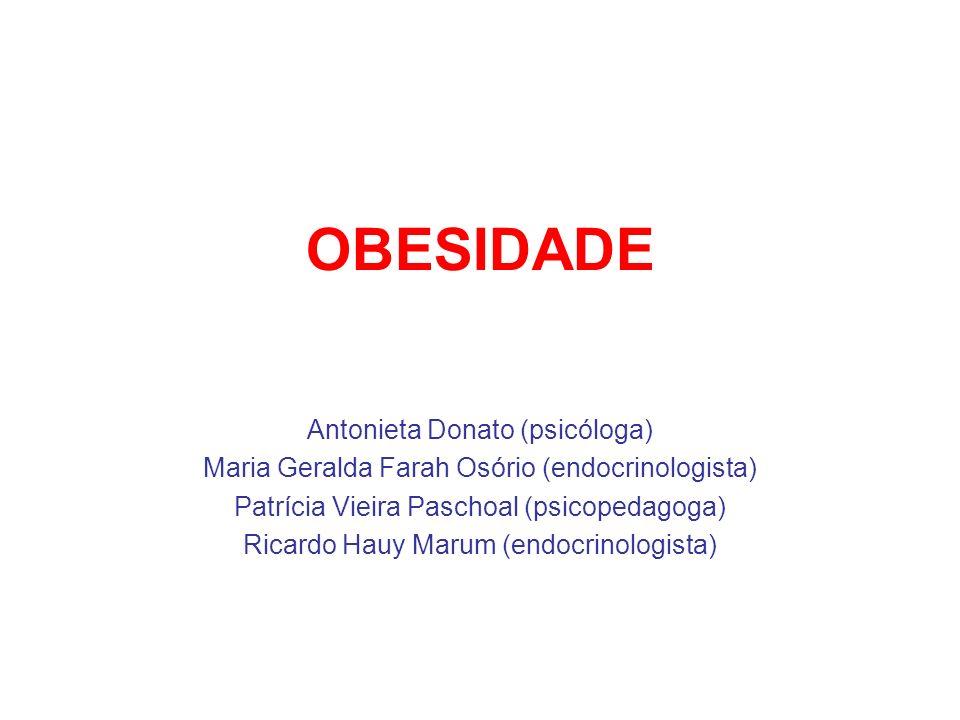 OBESIDADE Objetivos 1)Interromper o ciclo de ganho de peso continuado ou atingir uma perda moderada, porém benéfica, de peso; 2)Atingir o peso desejável, em particular em indivíduos moderadamente obesos.