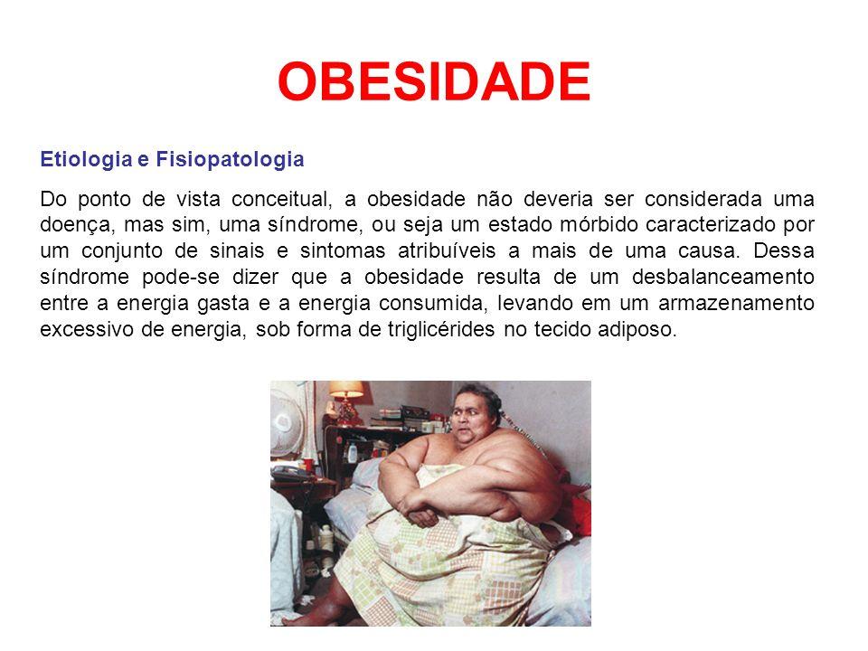 OBESIDADE Etiologia e Fisiopatologia Do ponto de vista conceitual, a obesidade não deveria ser considerada uma doença, mas sim, uma síndrome, ou seja