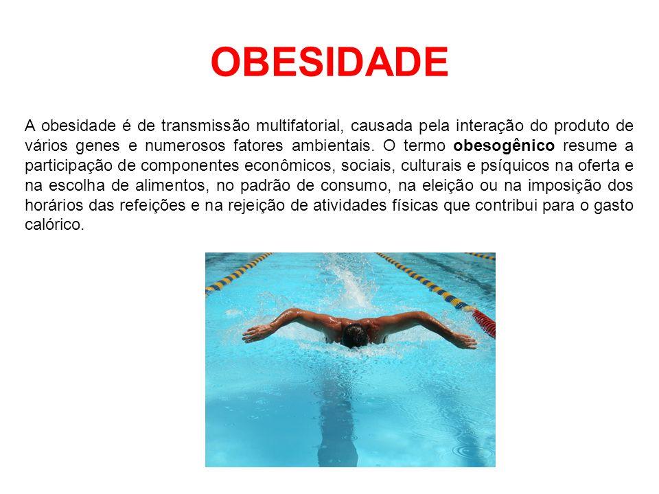 OBESIDADE A obesidade é de transmissão multifatorial, causada pela interação do produto de vários genes e numerosos fatores ambientais. O termo obesog