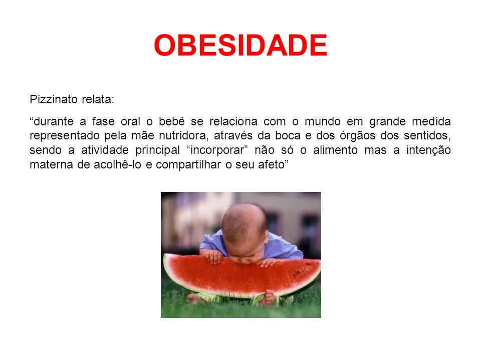 OBESIDADE Pizzinato relata: durante a fase oral o bebê se relaciona com o mundo em grande medida representado pela mãe nutridora, através da boca e do