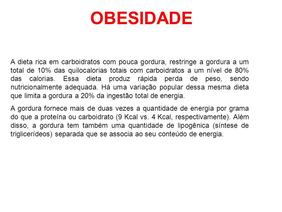 OBESIDADE A dieta rica em carboidratos com pouca gordura, restringe a gordura a um total de 10% das quilocalorias totais com carboidratos a um nível d
