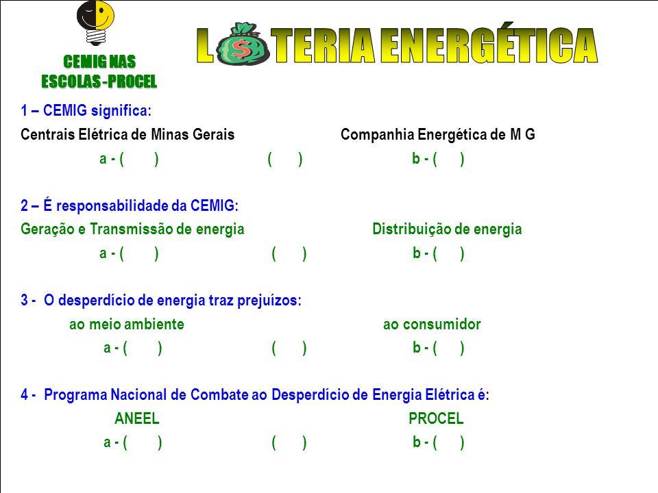 2 1 – CEMIG significa: Centrais Elétrica de Minas Gerais Companhia Energética de M G a - ( ) ( ) b - ( ) 2 – É responsabilidade da CEMIG: Geração e Tr