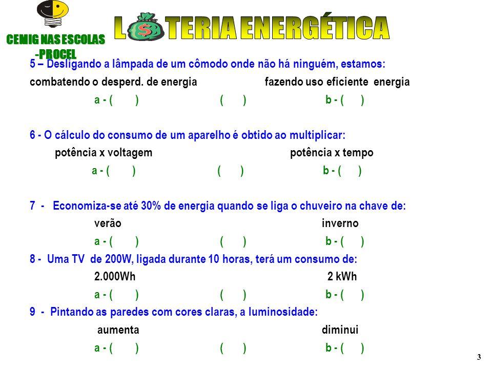 3 5 – Desligando a lâmpada de um cômodo onde não há ninguém, estamos: combatendo o desperd. de energia fazendo uso eficiente energia a - ( ) ( ) b - (