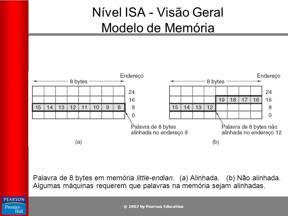 © 2007 by Pearson Education Nível ISA - Visão Geral Modelo de Memória Palavra de 8 bytes em memória little-endian. (a) Alinhada. (b) Não alinhada. Alg