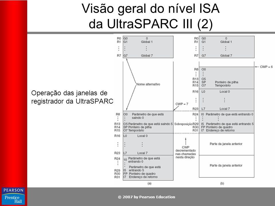© 2007 by Pearson Education Operação das janelas de registrador da UltraSPARC III. Visão geral do nível ISA da UltraSPARC III (2)