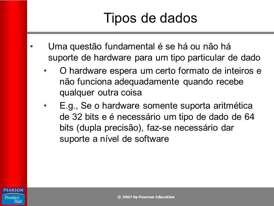© 2007 by Pearson Education Tipos de dados Uma questão fundamental é se há ou não há suporte de hardware para um tipo particular de dado O hardware es