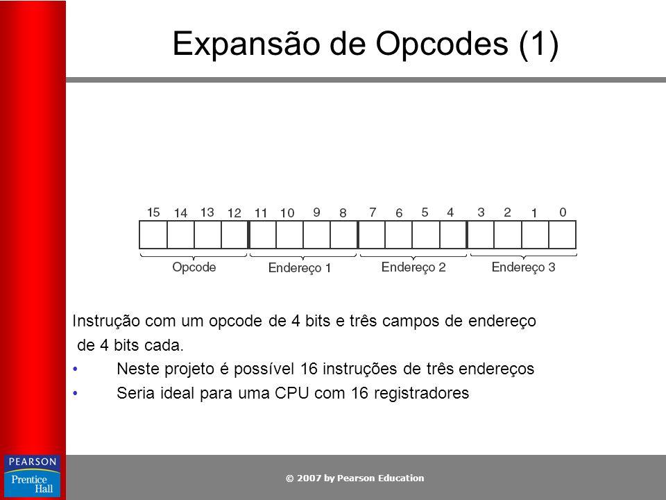 © 2007 by Pearson Education Expansão de Opcodes (1) Instrução com um opcode de 4 bits e três campos de endereço de 4 bits cada. Neste projeto é possív