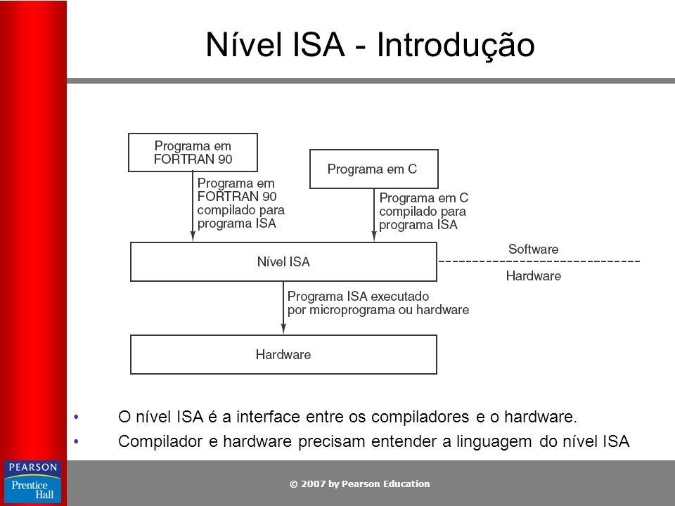 © 2007 by Pearson Education Nível ISA - Introdução O nível ISA é a interface entre os compiladores e o hardware. Compilador e hardware precisam entend