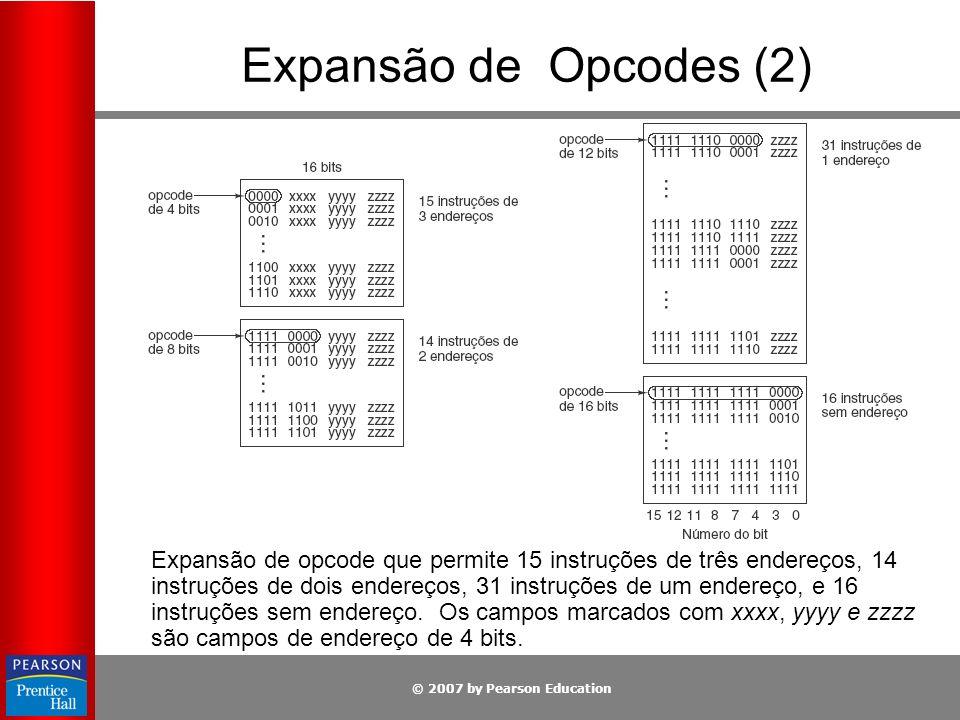 © 2007 by Pearson Education Expansão de Opcodes (2) Expansão de opcode que permite 15 instruções de três endereços, 14 instruções de dois endereços, 3