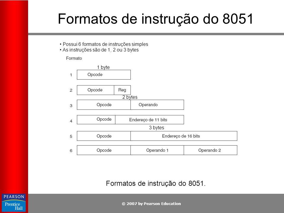 © 2007 by Pearson Education Formatos de instrução do 8051 Formatos de instrução do 8051. Possui 6 formatos de instruções simples As instruções são de