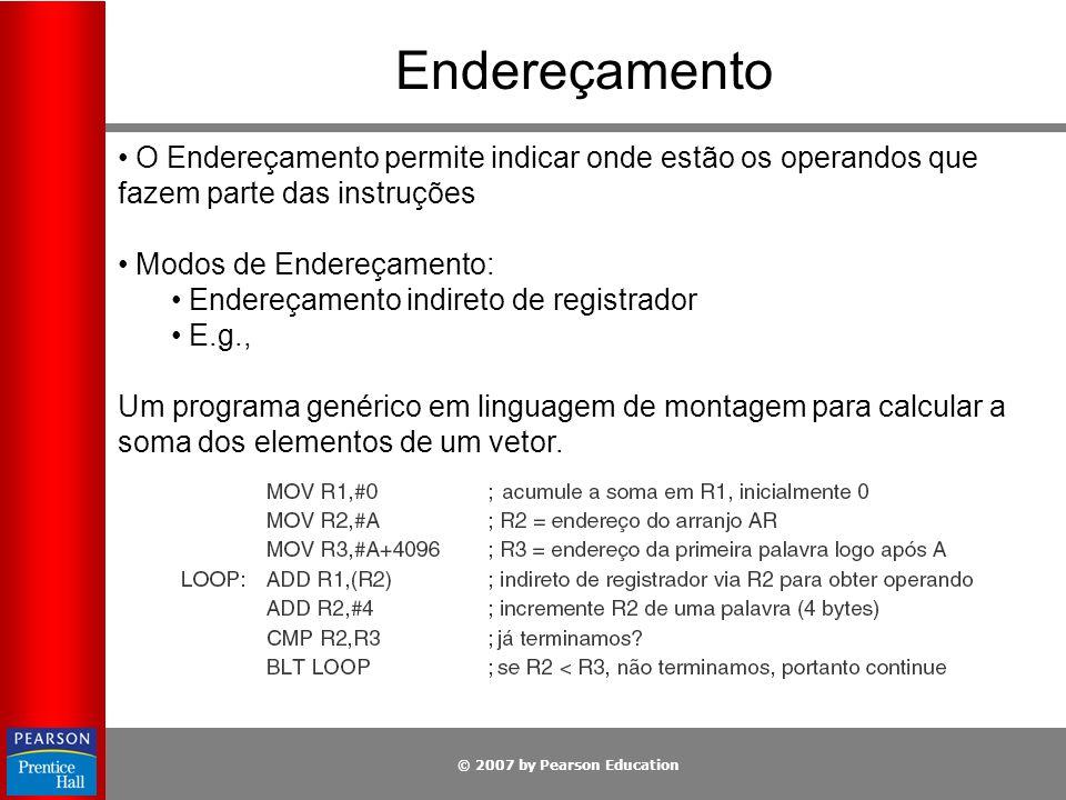 © 2007 by Pearson Education Endereçamento O Endereçamento permite indicar onde estão os operandos que fazem parte das instruções Modos de Endereçament