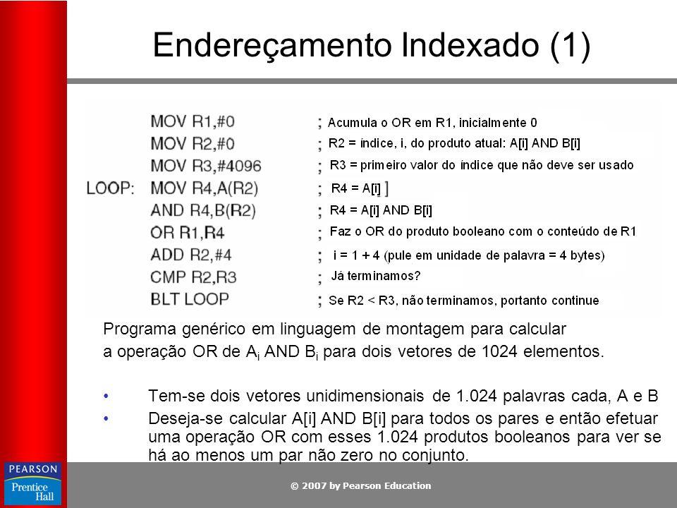© 2007 by Pearson Education Endereçamento Indexado (1) Programa genérico em linguagem de montagem para calcular a operação OR de A i AND B i para dois