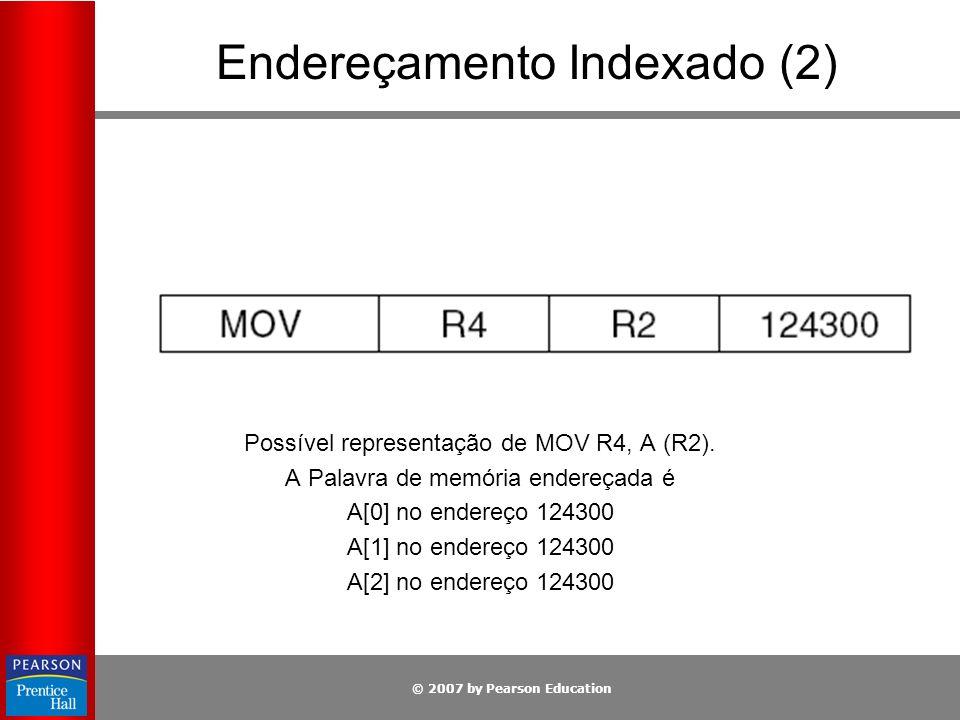 © 2007 by Pearson Education Endereçamento Indexado (2) Possível representação de MOV R4, A (R2). A Palavra de memória endereçada é A[0] no endereço 12