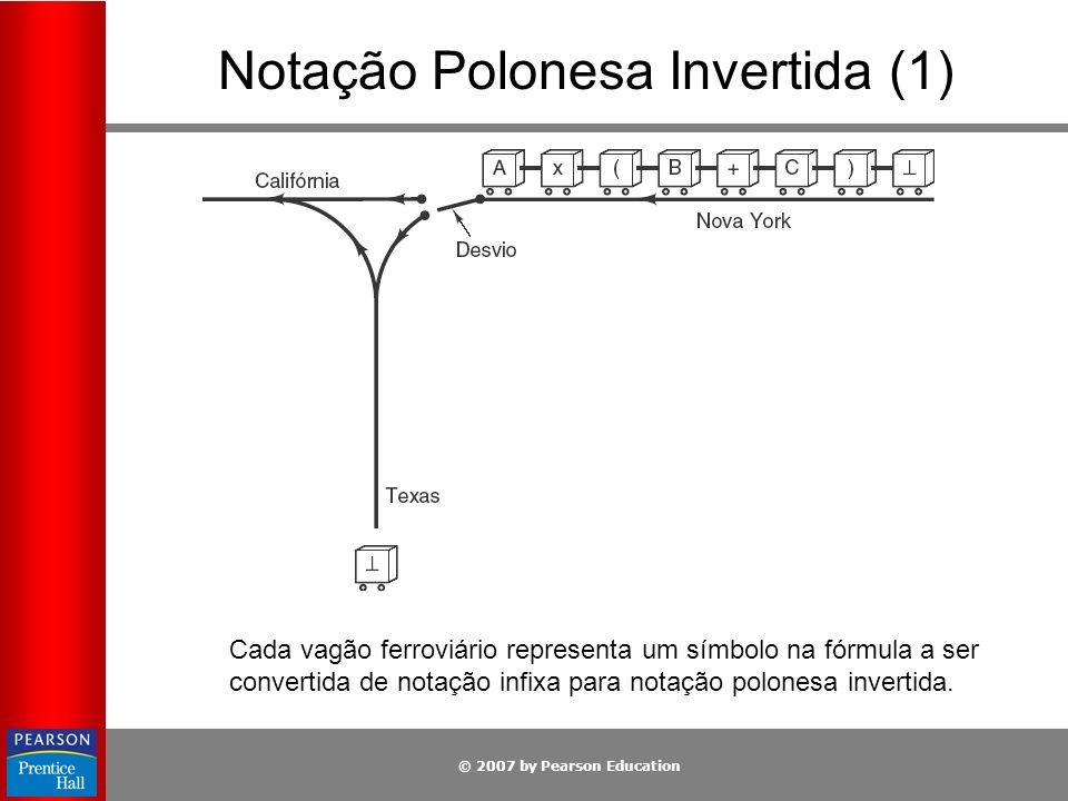 © 2007 by Pearson Education Notação Polonesa Invertida (1) Cada vagão ferroviário representa um símbolo na fórmula a ser convertida de notação infixa