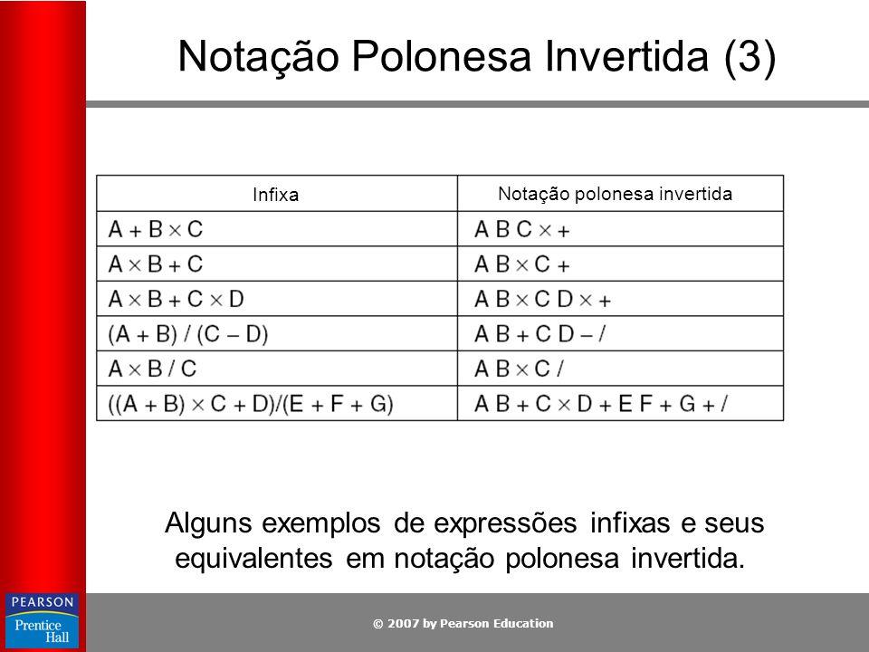 © 2007 by Pearson Education Alguns exemplos de expressões infixas e seus equivalentes em notação polonesa invertida. Notação Polonesa Invertida (3) In