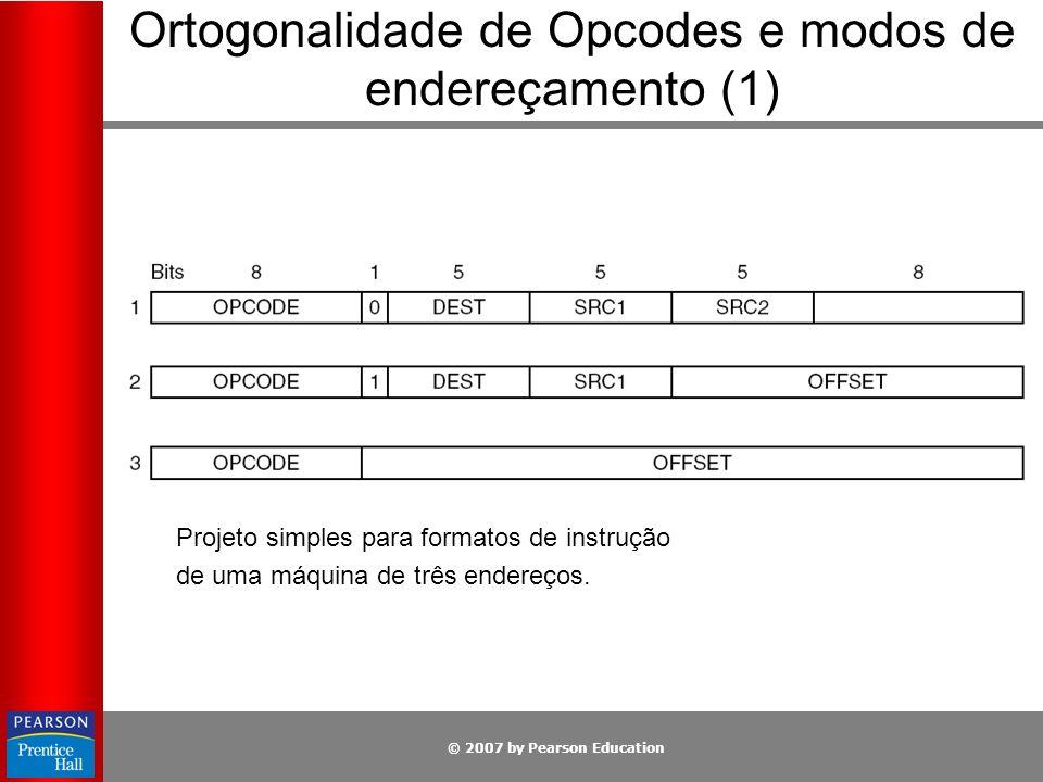 © 2007 by Pearson Education Ortogonalidade de Opcodes e modos de endereçamento (1) Projeto simples para formatos de instrução de uma máquina de três e