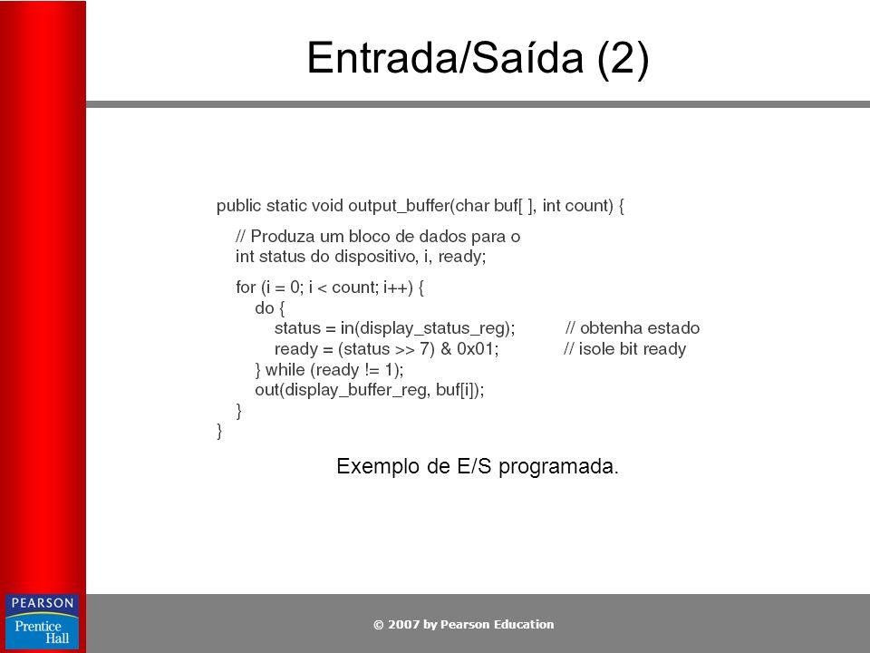 © 2007 by Pearson Education Entrada/Saída (2) Exemplo de E/S programada.