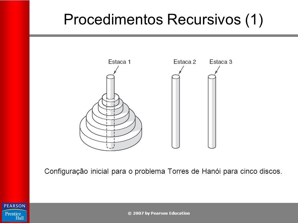 © 2007 by Pearson Education Procedimentos Recursivos (1) Configuração inicial para o problema Torres de Hanói para cinco discos.