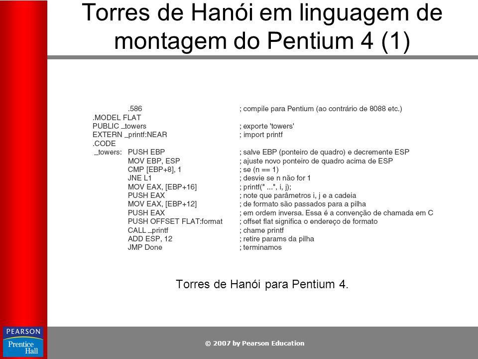 © 2007 by Pearson Education Torres de Hanói em linguagem de montagem do Pentium 4 (1) Torres de Hanói para Pentium 4.