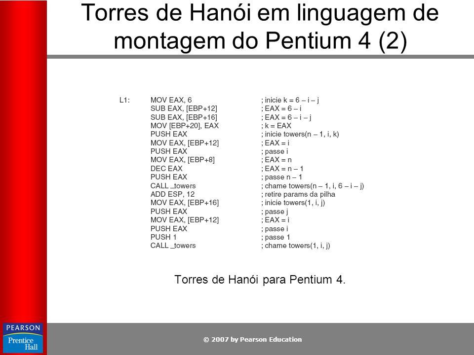 © 2007 by Pearson Education Torres de Hanói para Pentium 4. Torres de Hanói em linguagem de montagem do Pentium 4 (2)