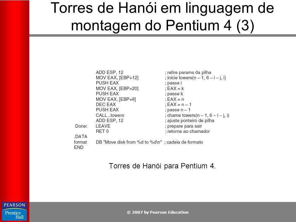 © 2007 by Pearson Education Torres de Hanói em linguagem de montagem do Pentium 4 (3) Torres de Hanói para Pentium 4.