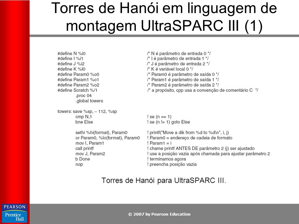 © 2007 by Pearson Education Torres de Hanói em linguagem de montagem UltraSPARC III (1) Torres de Hanói para UltraSPARC III.