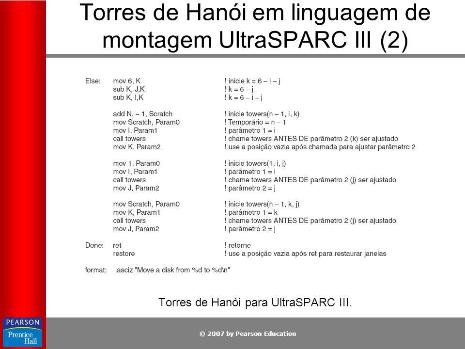 © 2007 by Pearson Education Torres de Hanói em linguagem de montagem UltraSPARC III (2) Torres de Hanói para UltraSPARC III.