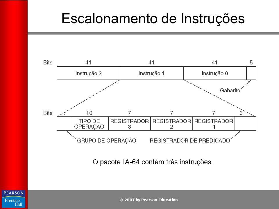 © 2007 by Pearson Education Escalonamento de Instruções O pacote IA-64 contém três instruções.