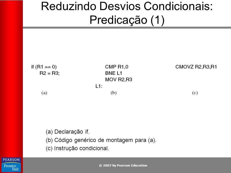 © 2007 by Pearson Education Reduzindo Desvios Condicionais: Predicação (1) (a) Declaração if. (b) Código genérico de montagem para (a). (c) Instrução