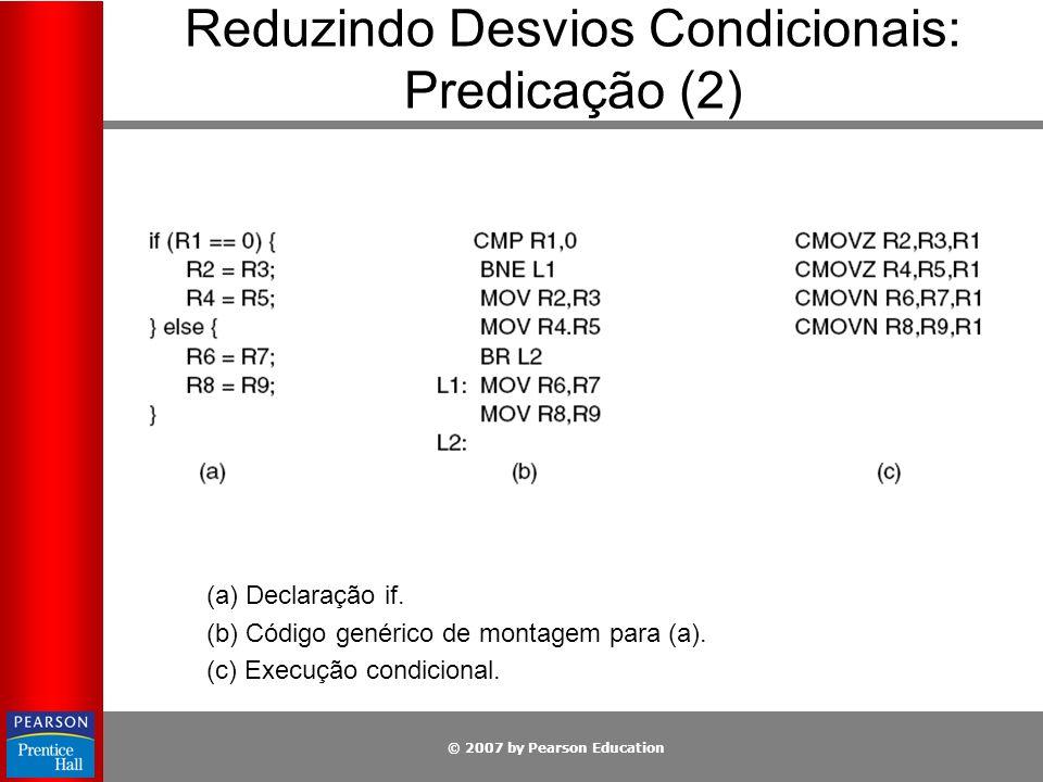 © 2007 by Pearson Education (a) Declaração if. (b) Código genérico de montagem para (a). (c) Execução condicional. Reduzindo Desvios Condicionais: Pre
