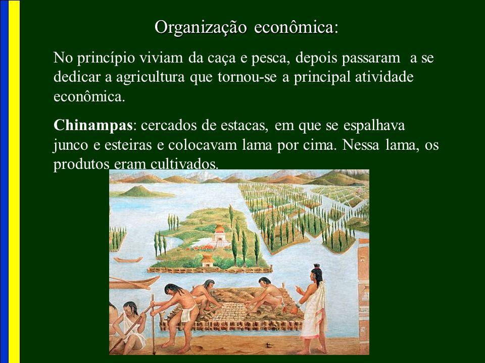 Organização econômica Organização econômica: No princípio viviam da caça e pesca, depois passaram a se dedicar a agricultura que tornou-se a principal