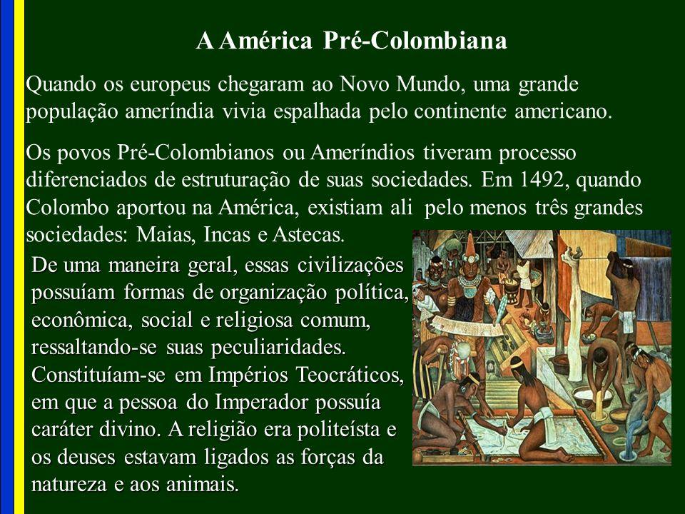 A América Pré-Colombiana Quando os europeus chegaram ao Novo Mundo, uma grande população ameríndia vivia espalhada pelo continente americano. Os povos