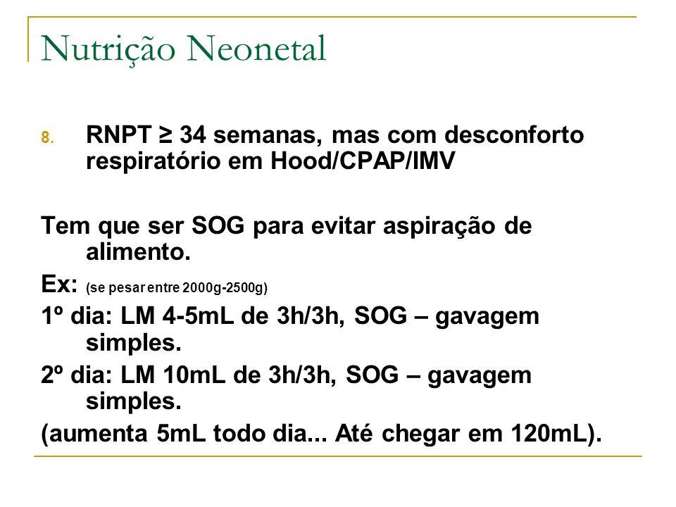 Nutrição Neonetal 8. RNPT 34 semanas, mas com desconforto respiratório em Hood/CPAP/IMV Tem que ser SOG para evitar aspiração de alimento. Ex: (se pes