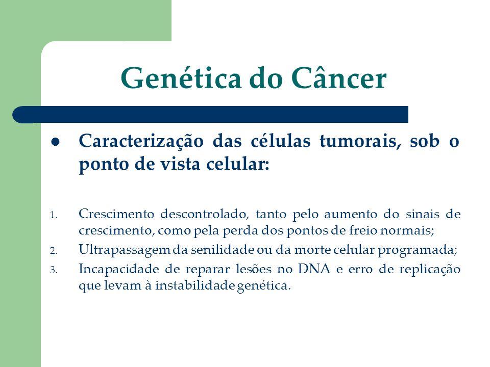Genética do Câncer Caracterização das células tumorais, sob o ponto de vista celular: 1. Crescimento descontrolado, tanto pelo aumento do sinais de cr