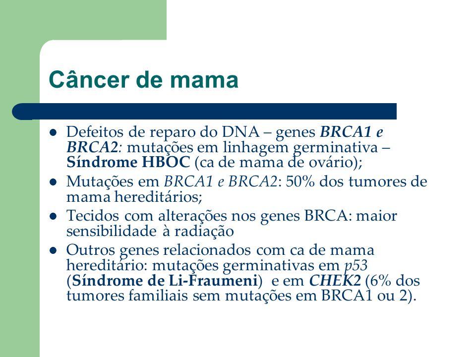 Câncer de mama Defeitos de reparo do DNA – genes BRCA1 e BRCA2: mutações em linhagem germinativa – Síndrome HBOC (ca de mama de ovário); Mutações em B