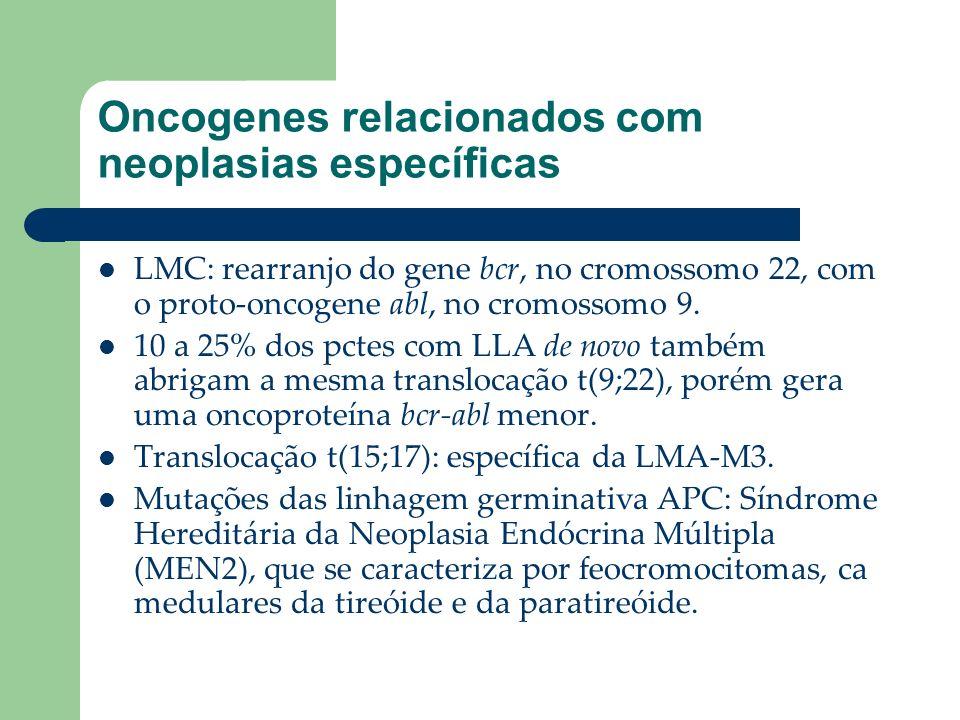 Oncogenes relacionados com neoplasias específicas LMC: rearranjo do gene bcr, no cromossomo 22, com o proto-oncogene abl, no cromossomo 9. 10 a 25% do