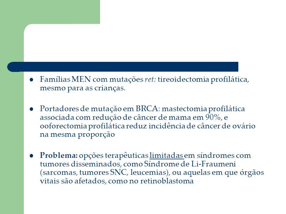 Famílias MEN com mutações ret: tireoidectomia profilática, mesmo para as crianças. Portadores de mutação em BRCA: mastectomia profilática associada co
