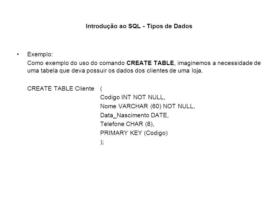 Introdução ao SQL - Tipos de Dados Exemplo: Como exemplo do uso do comando CREATE TABLE, imaginemos a necessidade de uma tabela que deva possuir os da