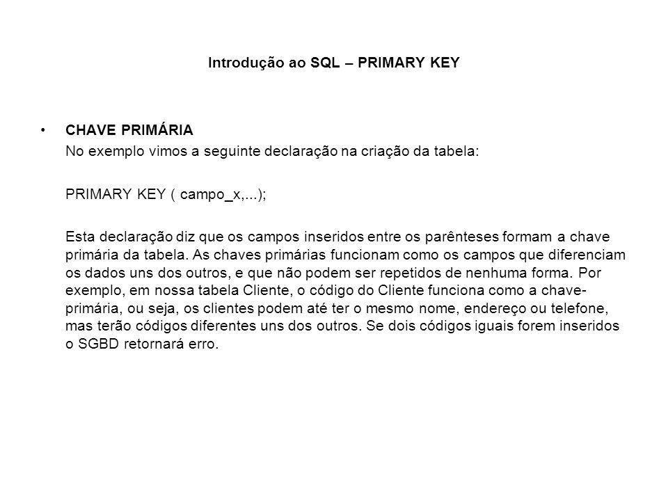 Introdução ao SQL – PRIMARY KEY CHAVE PRIMÁRIA No exemplo vimos a seguinte declaração na criação da tabela: PRIMARY KEY ( campo_x,...); Esta declaraçã