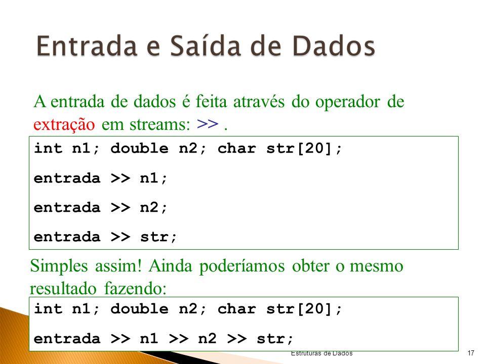 © Copyright 2008 Algoritmos e Estruturas de Dados A entrada de dados é feita através do operador de extração em streams: >>. int n1; double n2; char s