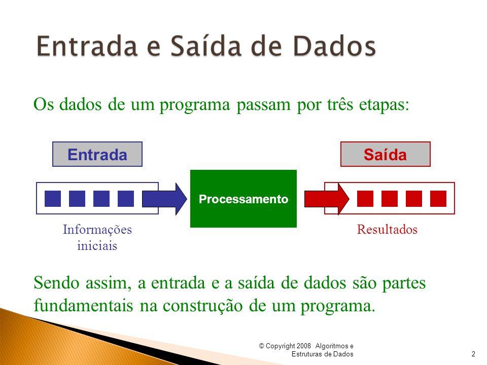 © Copyright 2008 Algoritmos e Estruturas de Dados Os dados de um programa passam por três etapas: Sendo assim, a entrada e a saída de dados são partes